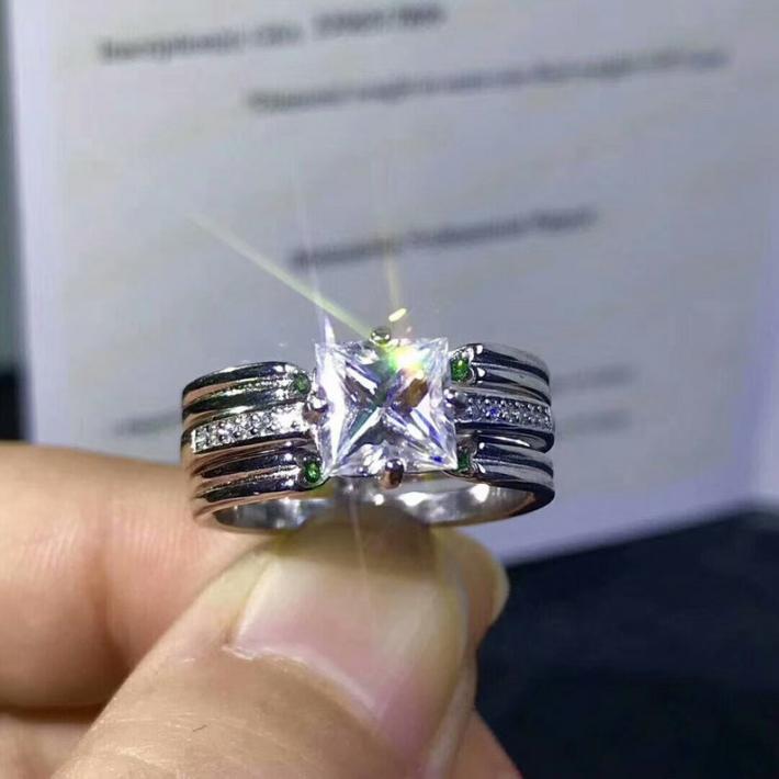1 Carat Moissanite Princess Cut Ring  Moissanite Diamond White Gold Plated Sterling Silver Rings for Women Handmade Engagement Wedding