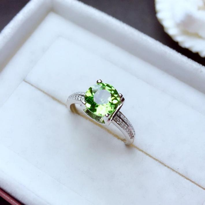 Natural Green Peridot Ring August Birthstone  White Gold Plated Sterling Silver Rings Engagement Statement Wedding Ring  Handmade Art Deco
