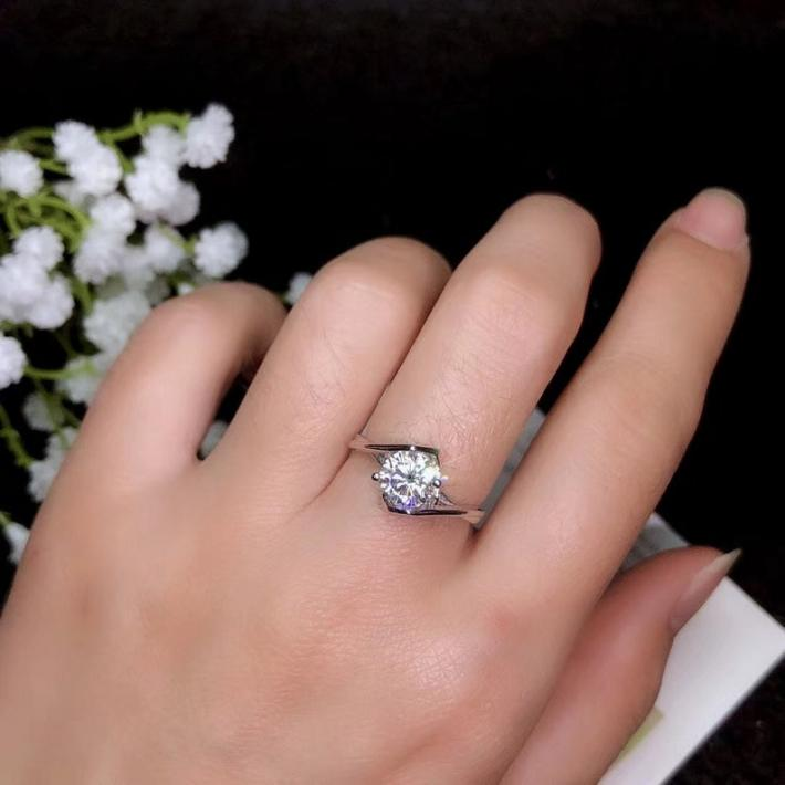 1 or 2 Carat Moissanite Ring White Gold Plated Sterling Silver Rings for Women Engagement Cocktail Wedding Ring  Art Deco Aesthetic