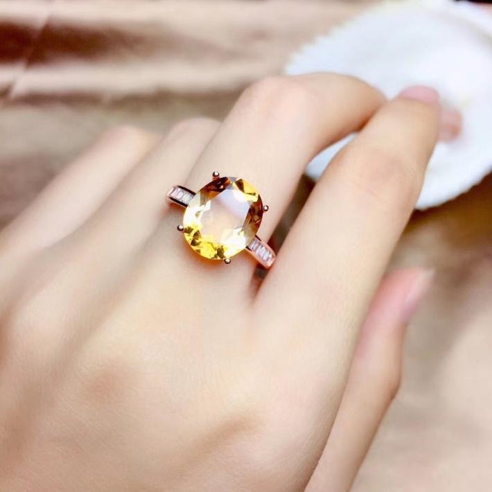 Huge Natural Citrine Ring November Birthstone Sterling Silver Rings For Women Engagement Statement Wedding Ring  Art Deco Aesthetic