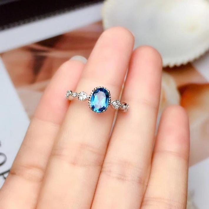 London Blue Natural Topaz Ring  November Birthstone Sterling Silver Rings for Women  Engagement Wedding Handmade Art Deco Aesthetic