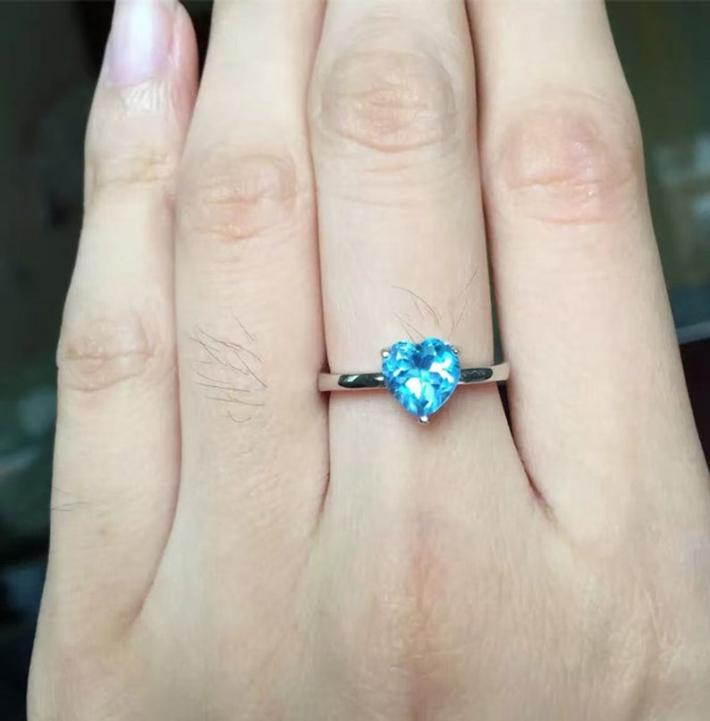 Swiss Blue Heart Natural Topaz Ring  November Birthstone  Sterling Silver Rings for Women  Engagement Wedding Handmade Minimalist
