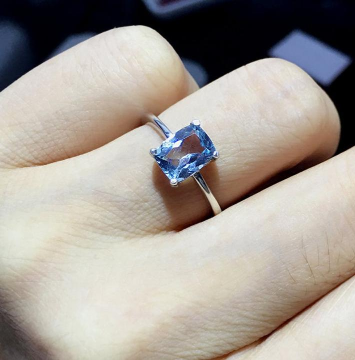 Sky Blue Natural Topaz Ring November Birthstone Sterling Silver Rings for Women Engagement Wedding Ring Handmade Minimalist