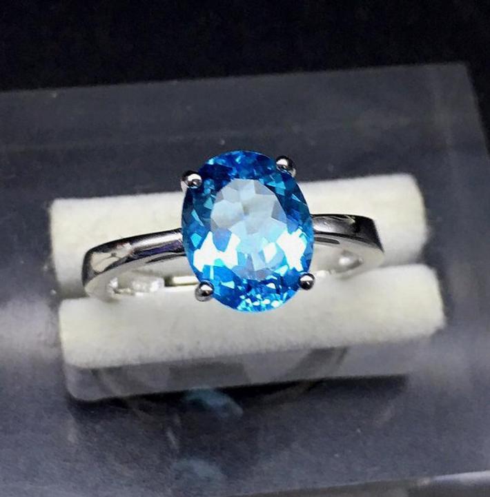 Swiss Blue Natural Topaz Ring November Birthstone  Sterling Silver Rings for Women Engagement Wedding Ring Handmade Aesthetic