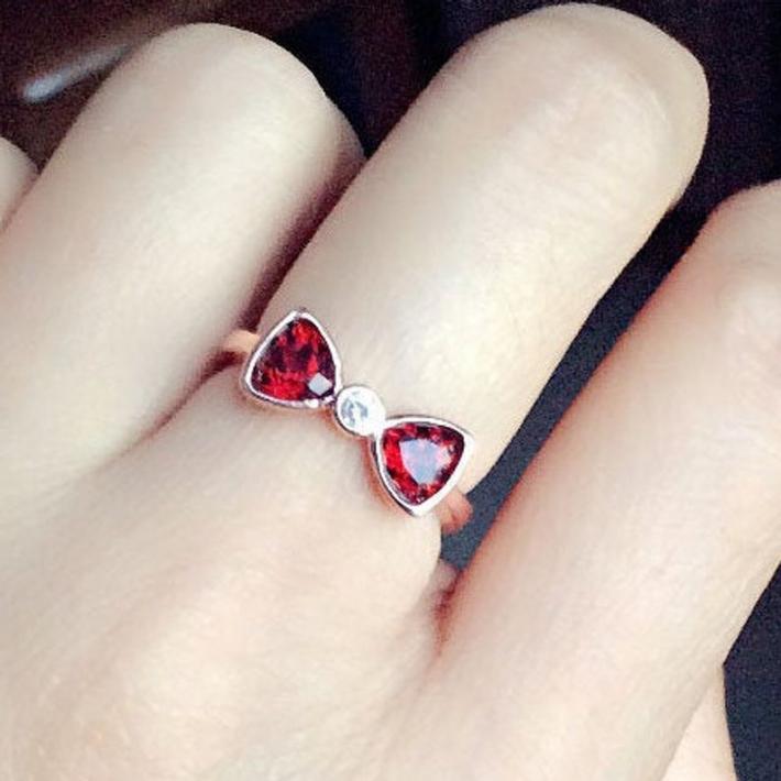 Natural Rhodolite Garnet Ring January Birthstone  Bow Silver Ring For Women Engagement Cocktail Wedding Ring Art Deco Aesthetic