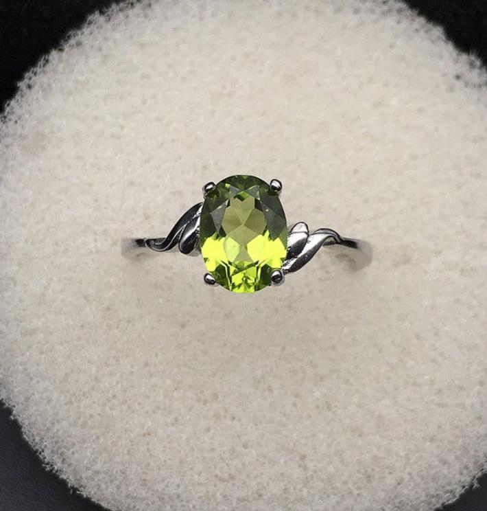 Natural Green Peridot Ring August Birthstone  White Gold Plated Sterling Silver Rings Engagement Statement Wedding Ring  Art Deco