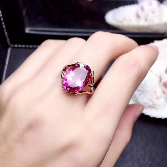 Natural Pink Topaz Ring November Birthstone  White Gold Plated Silver Rings For Women  Handmade Engagement Statement Wedding