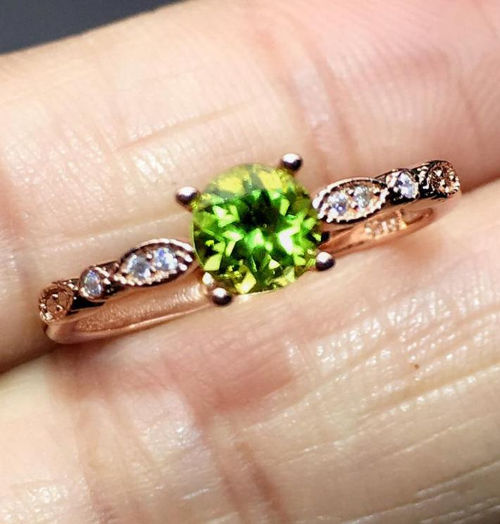 Natural Green Peridot Ring August Birthstone  Gold Plated Sterling Silver Rings Handmade Engagement Statement Wedding Ring  Art Deco