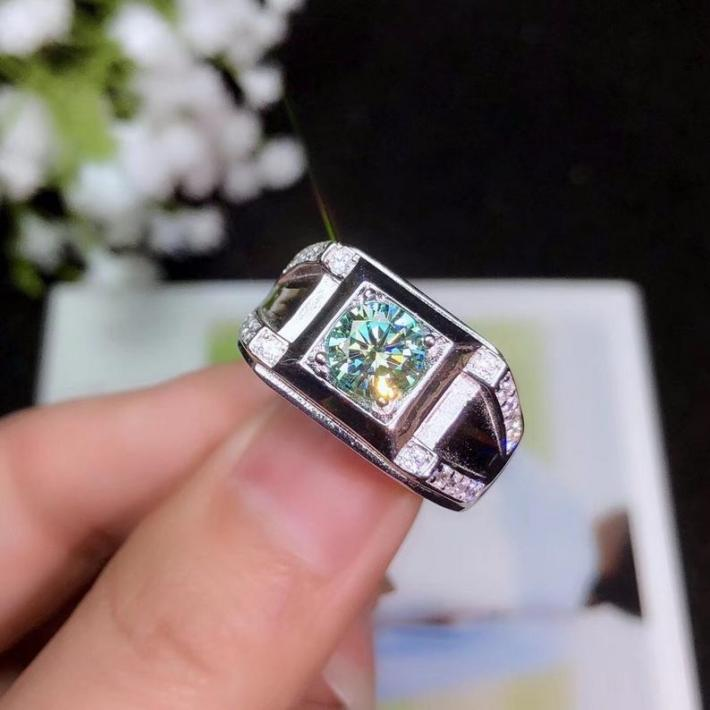 1 Carat Colored Moissanite Ring For Men  White Gold Plated Sterling Silver Rings Engagement Cocktail Wedding Ring  Art Deco Aesthetic
