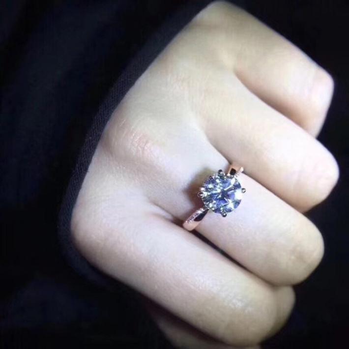 1 Carat Classic Moissanite Engagement Ring  Moissanite Diamond  White Gold Plated Sterling Silver Rings for Women  Handmade Wedding