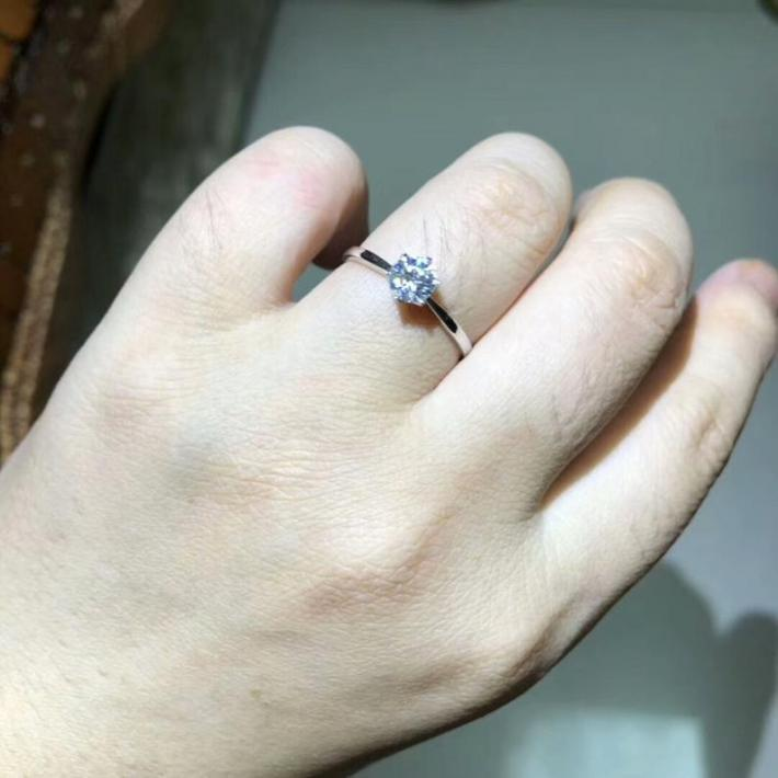 Moissanite Engagement Ring Moissanite Diamond  Solid 18K White Gold Rings for Women Handmade Engagement Wedding
