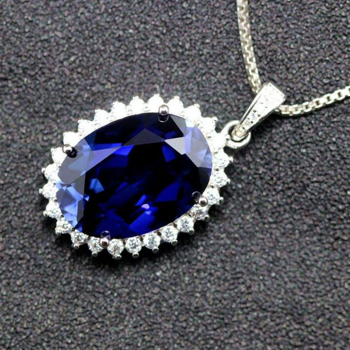Blue Sapphire Necklace Pendant Created Sapphire September Birthstone  Gold Plated Sterling Silver Pendant for Women  Engagement Wedding