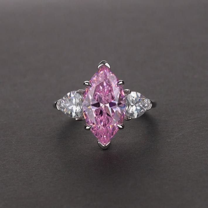 Simulated Tourmaline Diamond Sapphire Ring   Marquise Cut White Gold Plated Sterling Silver Rings for Women Engagement Wedding Promise