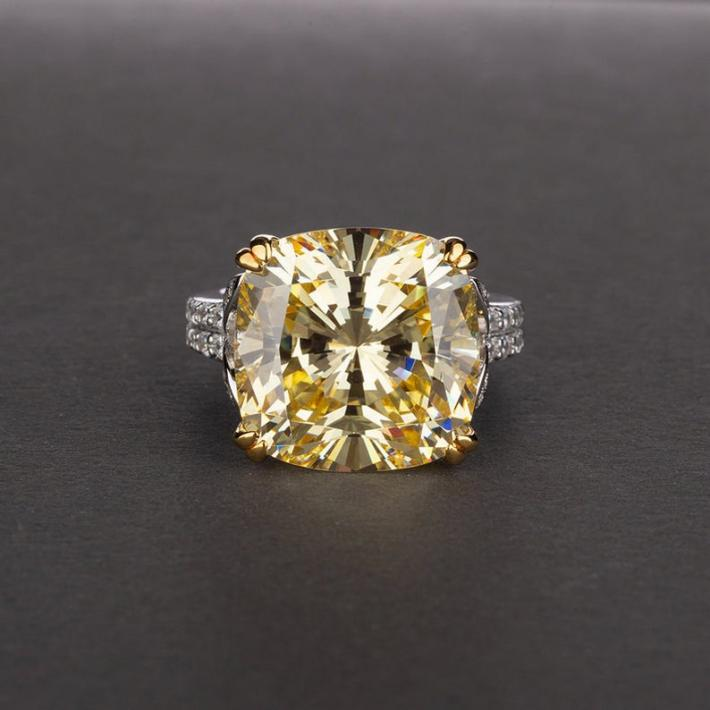Simulated Tourmaline Diamond Topaz Ring  White Gold Plated Sterling Silver Rings for Women Engagement Wedding Promise