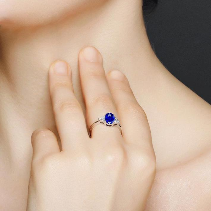 Royal Blue Sapphire Ring Created Sapphire  September Birthstone  White Gold Plated Sterling Silver Rings for Women  Engagement Wedding Ring