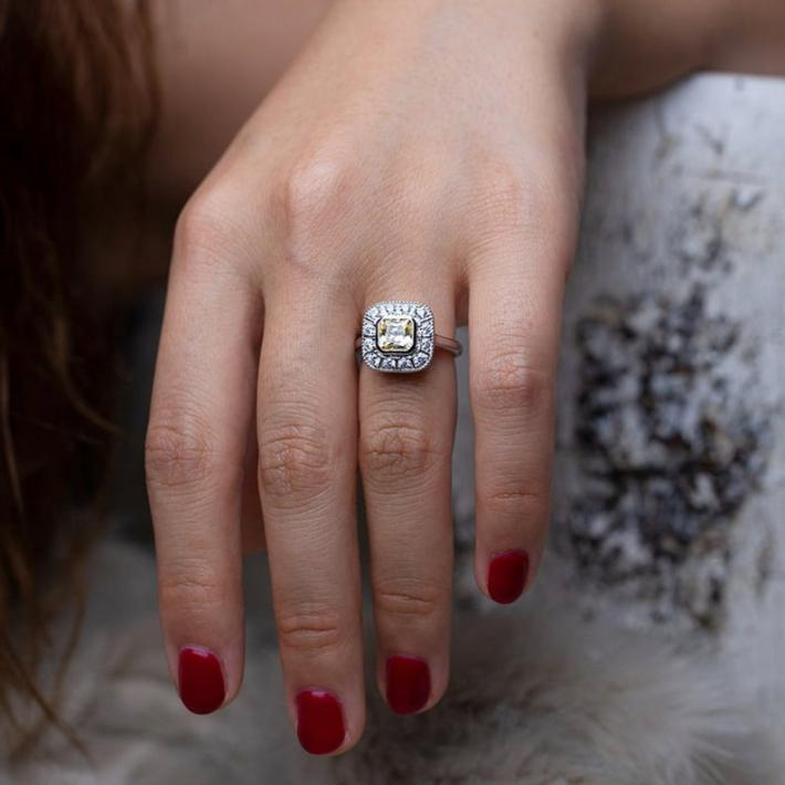 Simulated Tourmaline Diamond Ring  White Gold Plated Sterling Silver Rings for Women  Handmade Engagement Wedding Promise Ring