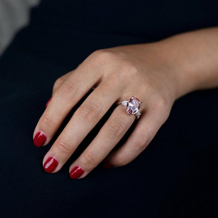 Simulated Tourmaline Amethyst Ring  White Gold Plated Sterling Silver Rings for Women  Handmade Engagement Wedding Promise Cocktail