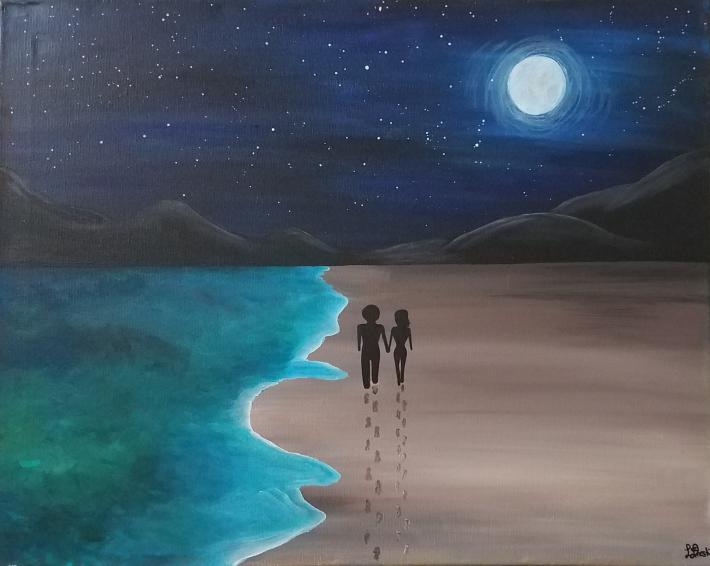 Acrylic Painting of People under the Moon