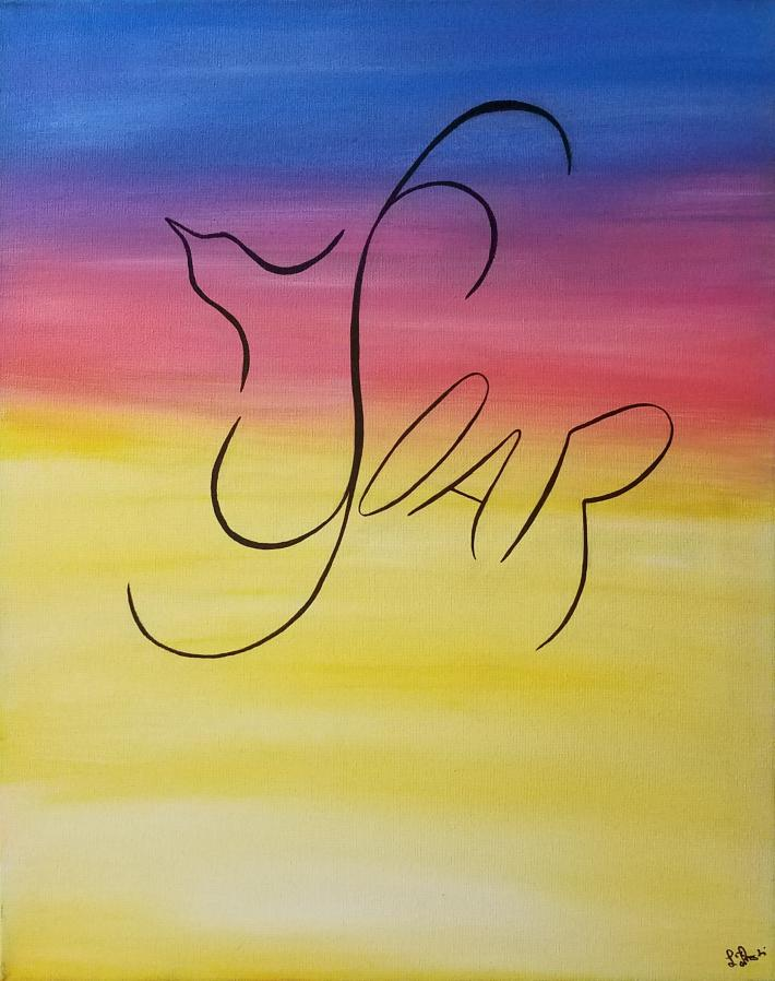 Inspirational Acrylic Painting Bird Soar