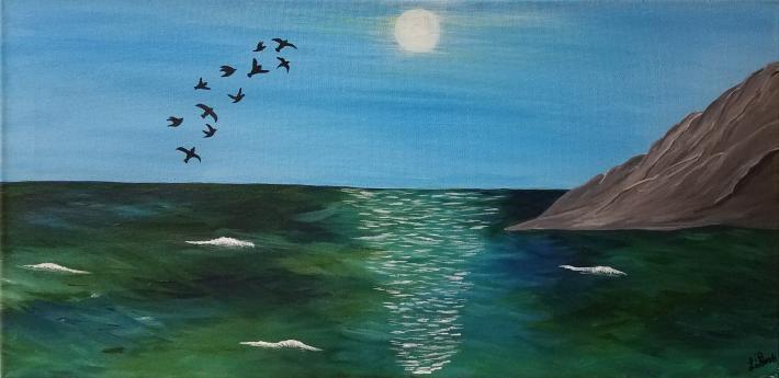 Acrylic Painting Birds over Ocean