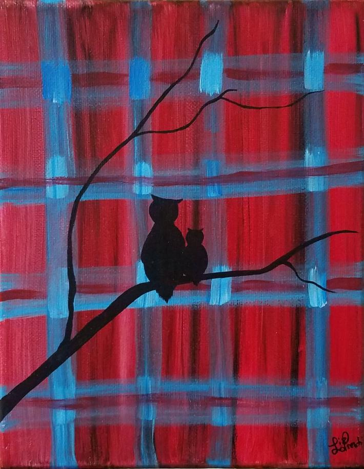 Owls Acrylic Painting