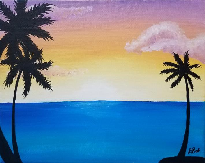 Palm Trees in the Sun Acrylic Painting