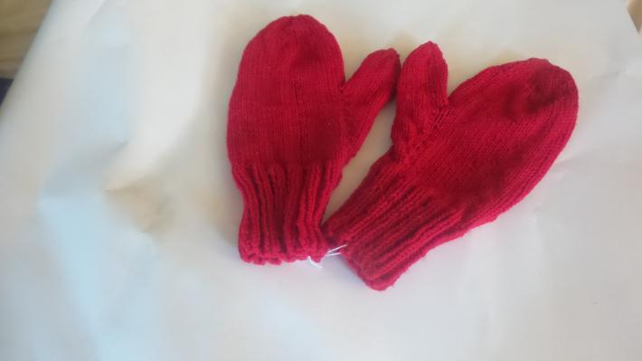 Handmade Mittens Mens Cherry Red