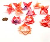 Wedding Party Favors Origami Flowers Miniature Lilies and Lotuses Mini Pink Peach and Purple Models Set of Twelve