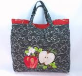 Farmers Market Tote apples peaches embroidery