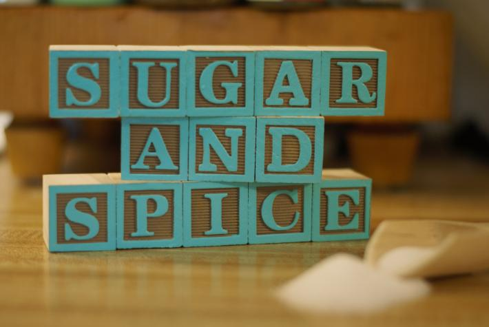 SUGAR AND SPICE from 13 Wooden Painted Alphabet Letter Blocks