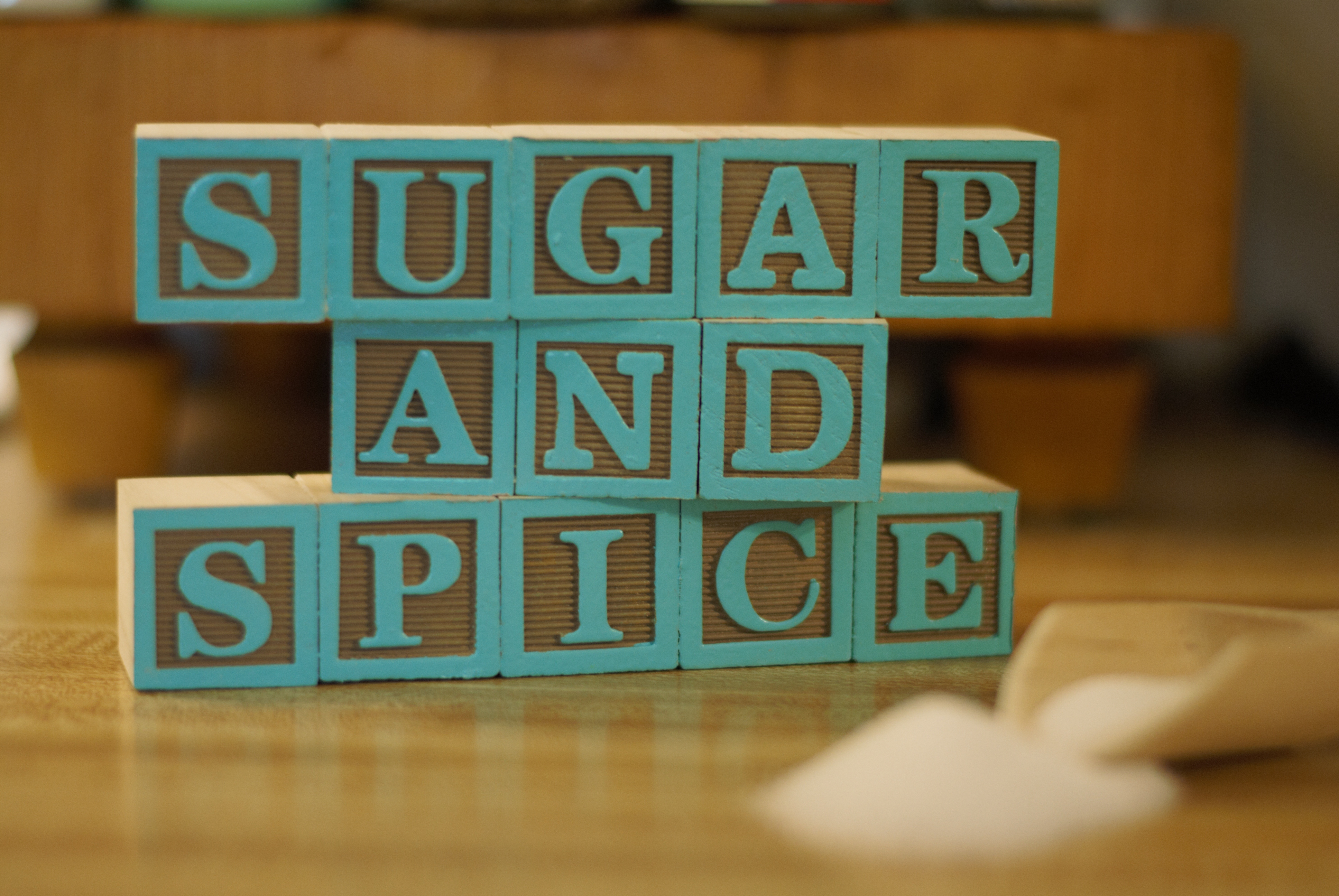 Sugar And Spice From 13 Wooden Painted Alphabet Letter Blocks On