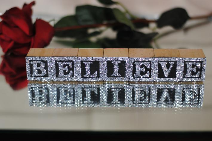 BELIEVE in MEGA Silver Glitter on Wooden Alphabet Block Letters