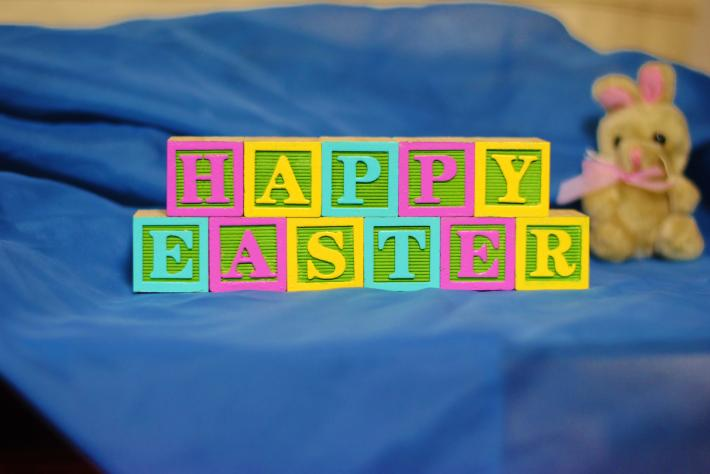 HAPPY EASTER in Custom Painted Wooden Letter Blocks