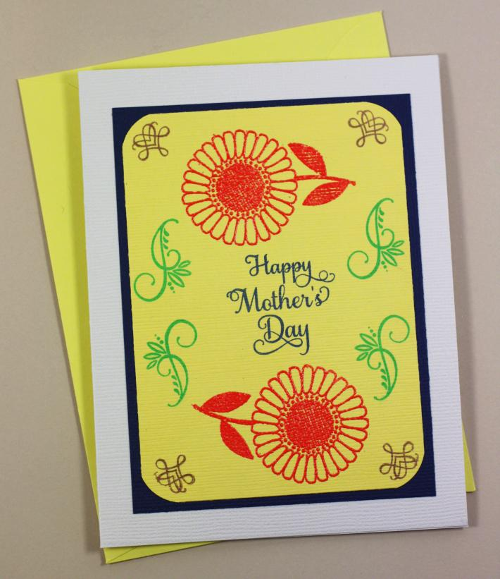 Handstamped Mother Day Cards Daisy Flowers