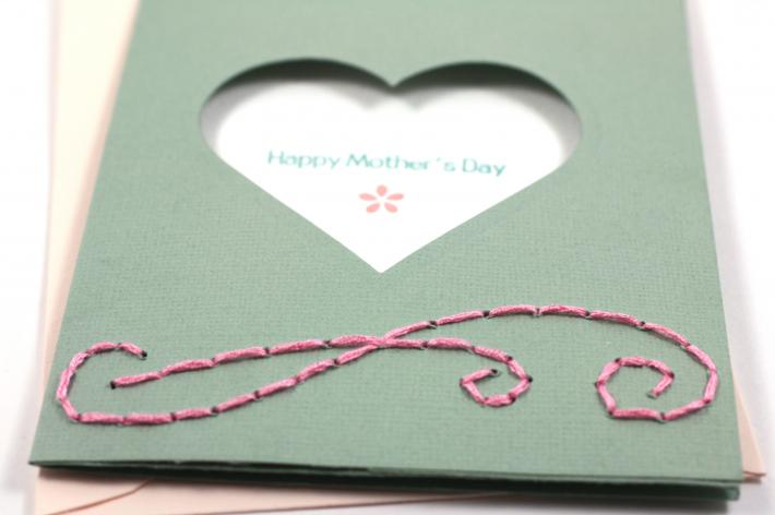 Handstitched Mother Day Card Pink Flourish Floss