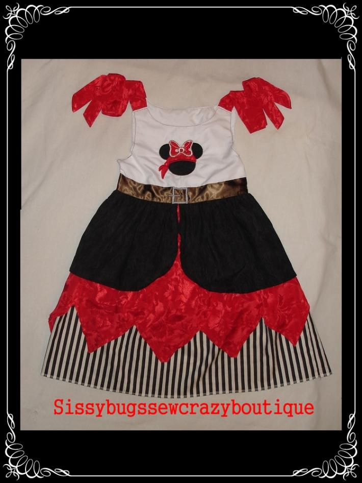 Pirate Minnie Mouse Appliqued Girls dress infant dress toddler dress disney dress appliqued Pirate dress Custom made to order