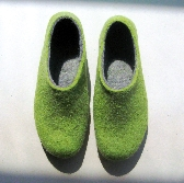 Womens Felted wool natural eco slippers for HER by ekohaus Green Grey Narrow fit felted comfy slip on shoes Near Ankle Rounded Toe