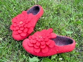 Womens Felted shoes natural wool eco slippers for HER by ekohaus Red Poppy with Flower Broches Pins Narrow fit felted comfy slip on shoes Near Ankle Rounded Toe