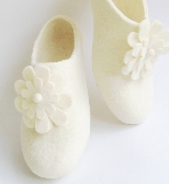 Womens Felted shoes natural wool eco slippers for HER by ekohaus White FLOWERS ANGELS with removable Pins  Narrow fit felted comfy slip on shoes Near Ankle Rounded Toe Custom made
