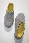 Mens Felted Shoes natural  wool eco slippers for HIM by ekohaus Grey Amber Narrow fit felted comfy slip on shoes Near Ankle Rounded Toe