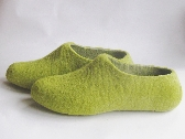 Mens shoes Felted wool natural eco slippers for HIM by ekohaus Green Grey Narrow fit felted comfy slip on shoes Near Ankle Rounded Toe