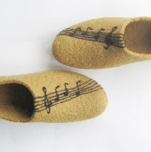 Felted slippers with Felted Violin Musical Notes Black Mustard Khaki Lion Camel Custom made for Her Women Special Christmas