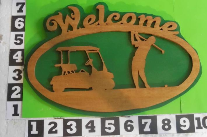 Golfer Welcome sign