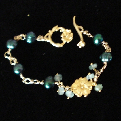Gold and Pearl Bracelet with gem accents One of a Kind