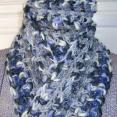 Rainy Days Charcoal Gray Cream Purple Handmade Crocheted Scarf