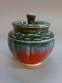 Miniature Jar with Blood Red and Midnight Blue Glazes