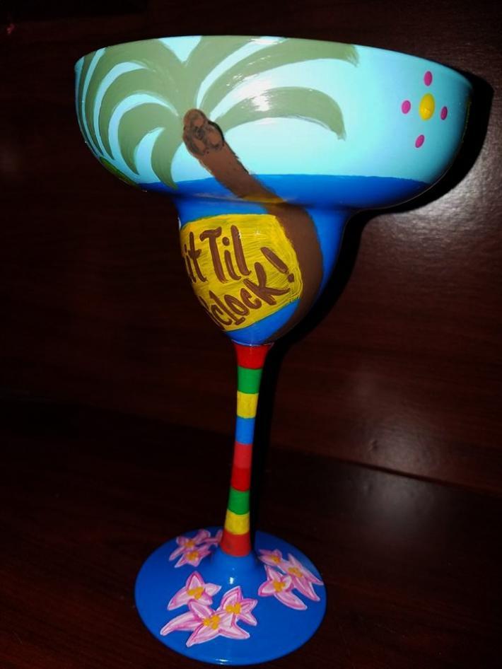 Hand painted tropical beach parrot margarita glass