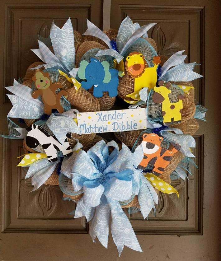 Baby Boy Forest Animal themed  Deco Mesh Wreath