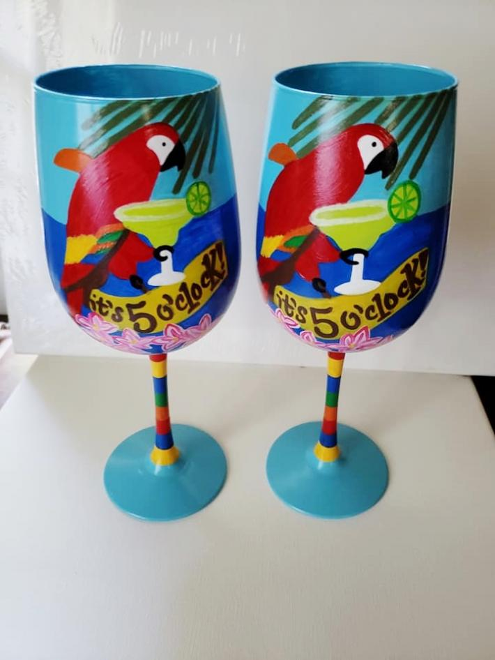 Hand Painted Tropical Beach Parrot themed wine glass
