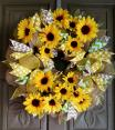 Sunflower deco mesh wreath